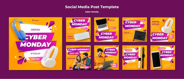 Cyber maandag sociale media post-sjabloon Premium Psd