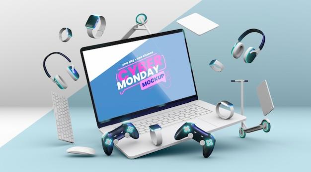 Cyber maandag verkoop samenstelling mock-up Gratis Psd