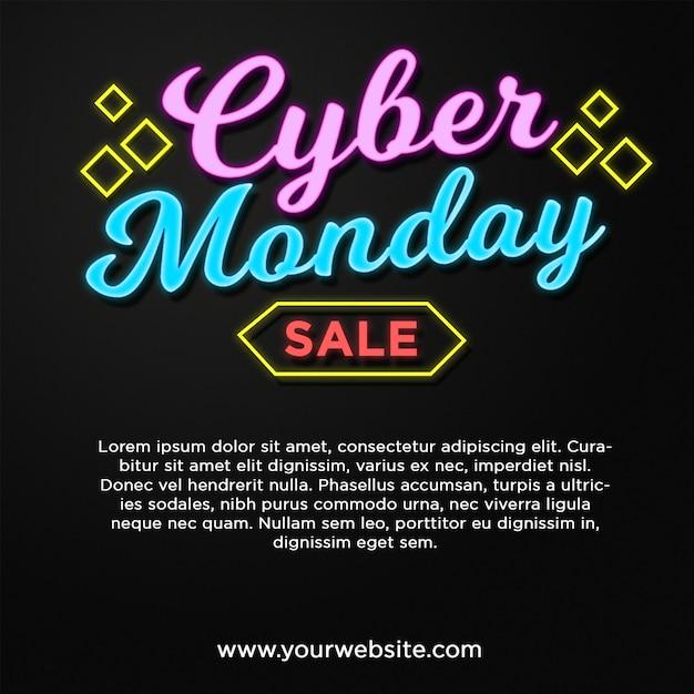 Cyber monday banner sale en efecto de texto de estilo neón PSD Premium