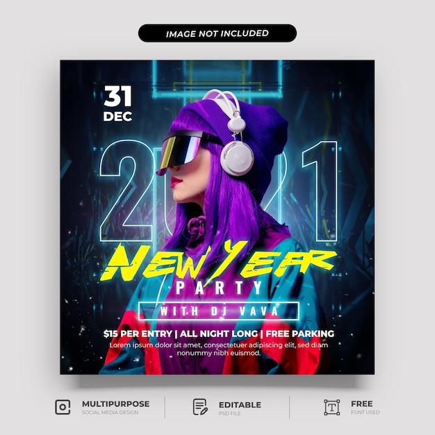 Cyberpunk nieuwjaarsfeest social media post-sjabloon Premium Psd