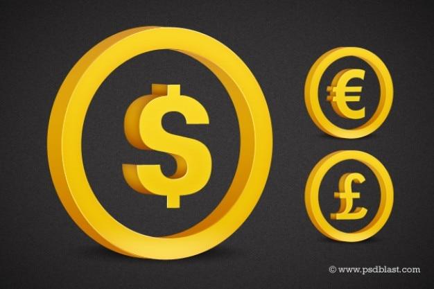 D'oro simbolo di valuta impostato psd Psd Gratuite