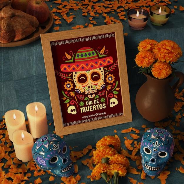 Dag van dode traditionele mexicaanse mock-ups hoge weergave Gratis Psd