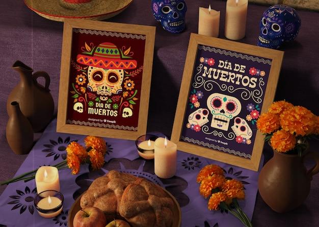 Dag van dode traditionele mexicaanse mock-ups met bloemen Gratis Psd