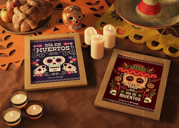 Dag van dode traditionele mexicaanse mock-ups met kaarsen Gratis Psd