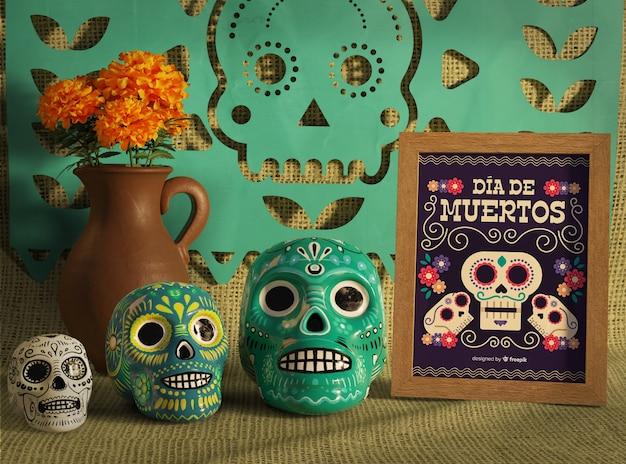 Dag van het dode traditionele mexicaanse bloemenschedels vooraanzicht Gratis Psd