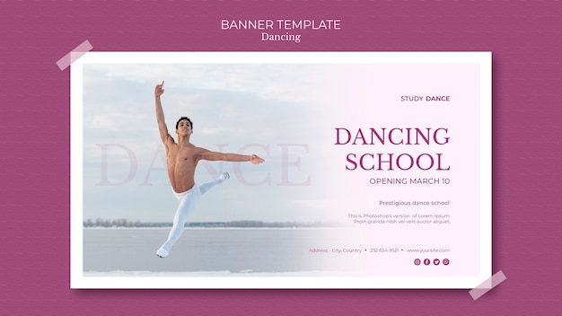 Dansende school spandoeksjabloon en man dansen Gratis Psd
