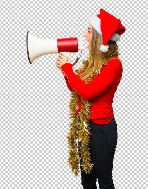 De blondevrouw kleedde zich omhoog voor kerstmisvakantie Premium Psd