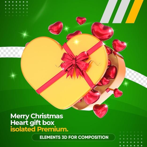 De doos van de hartgift voor geïsoleerde samenstelling Premium Psd
