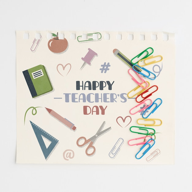 De gelukkige lerarendag met school levert hoogste mening Gratis Psd