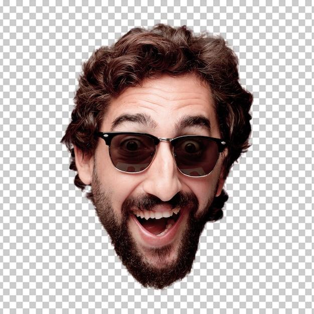 De jonge gekke gebaarde geïsoleerde hoofduitdrukking van het mensen knipsel. hipsterrol met zonnebril. gelukkig poseren Premium Psd