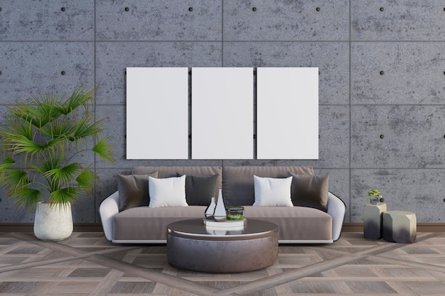 De kamer met neutrale kleuren en mockup set frames Premium Psd