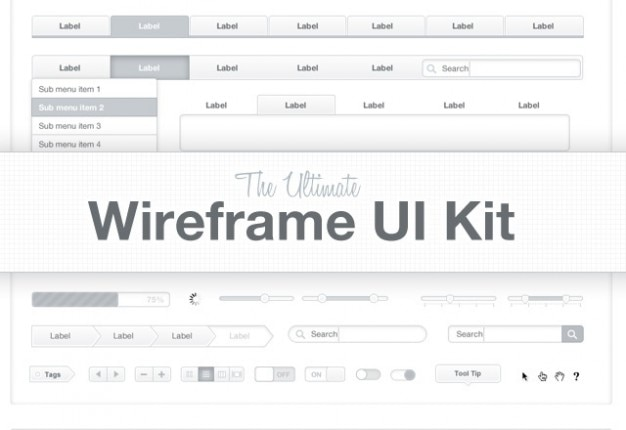 De ltimate wireframe kit Gratis Psd