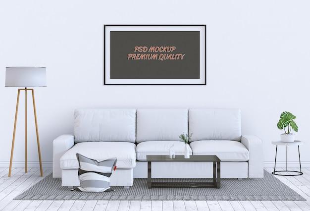 De spot op affichekader in binnenlandse 3d woonkamer en bank, geeft terug Premium Psd