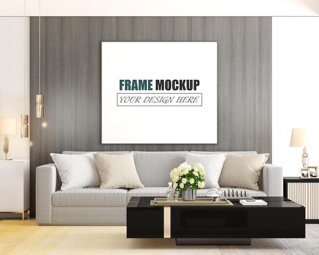 De woonkamer is ontworpen in een frame-mockup in moderne stijl Premium Psd