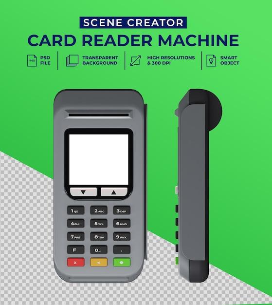 Debet- en creditcardlezer in 3d-ontwerp Premium Psd