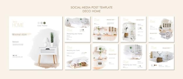 Deco home concept social media modello di post Psd Gratuite