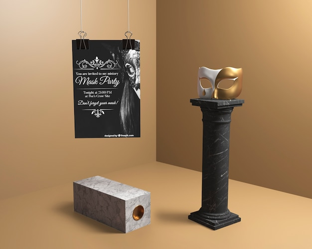 Decoración minimalista con columnas negras y máscaras. PSD gratuito