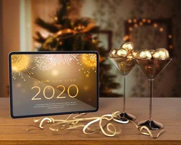 Decoraciones temáticas para la noche de año nuevo. PSD gratuito