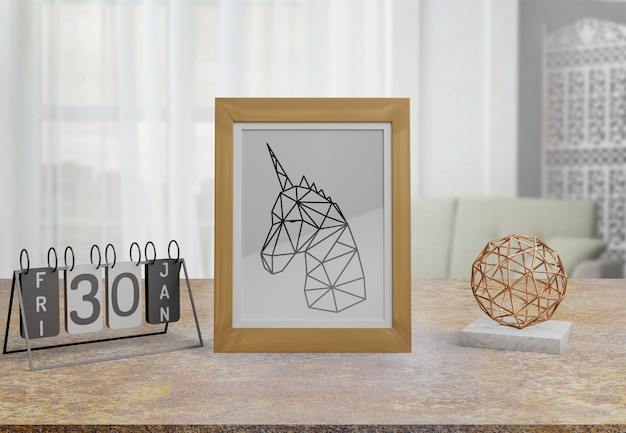 Decoratief frame mockup op tafel thuis Gratis Psd