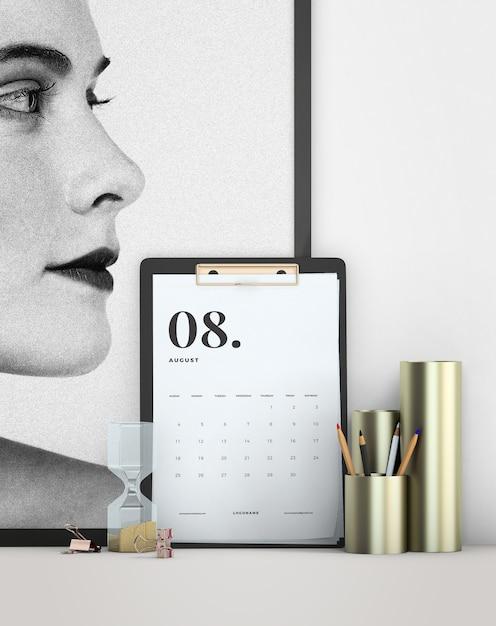 Decoratieve mock up minimalistische kalender Gratis Psd