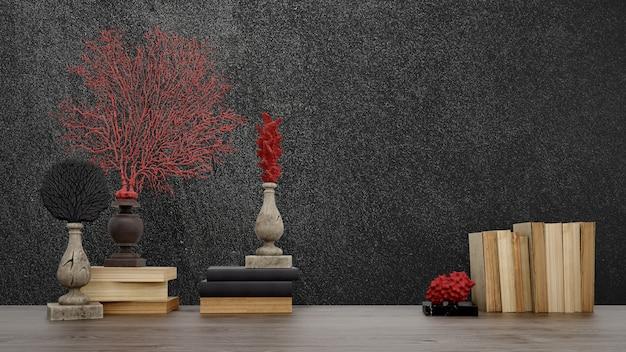 Decoratieve voorwerpen, oude boeken en vazen over zwarte muur, japanse stijl. Gratis Psd