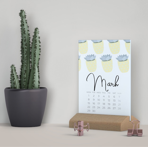 Decorativo mock up calendario Psd Gratuite