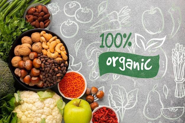 Deliciosa mezcla saludable de especias y verduras vista superior PSD gratuito