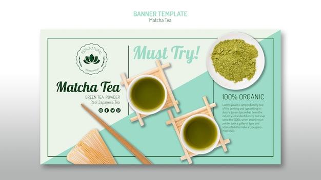 Deliciosa plantilla de banner de té matcha PSD gratuito