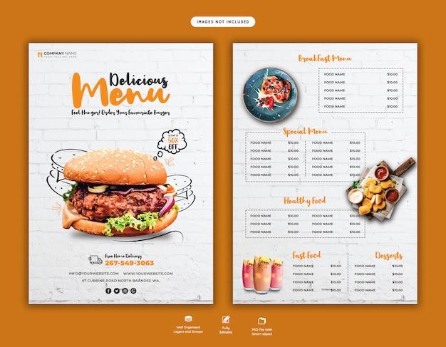 Deliciosa plantilla de volante de menú de hamburguesas y comida PSD Premium