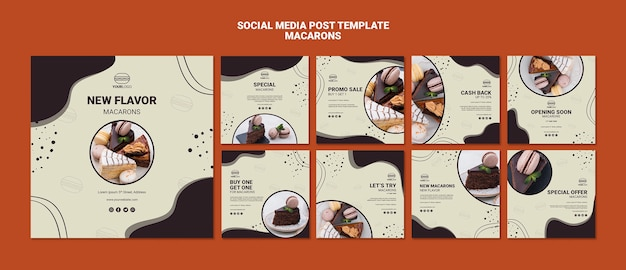 Delicious macarons post sui social media Psd Gratuite