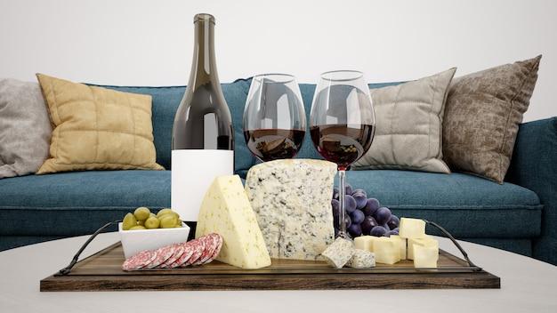Delizioso assortimento di formaggi con vino rosso mockup Psd Gratuite