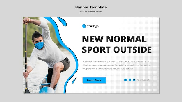 Deporte fuera de banner horizontal con foto PSD gratuito