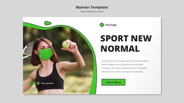 Deporte fuera de plantilla de banner horizontal PSD gratuito