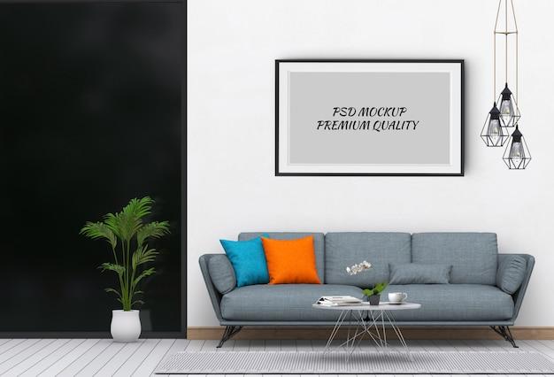 Derida sulla struttura del manifesto nel salone e nel sofà interni, 3d rendono Psd Premium