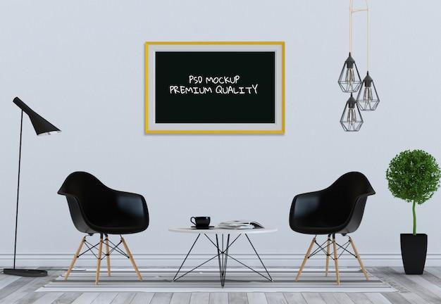 Derida sulla struttura del manifesto nel salone e nella sedia interni, 3d rendono Psd Premium