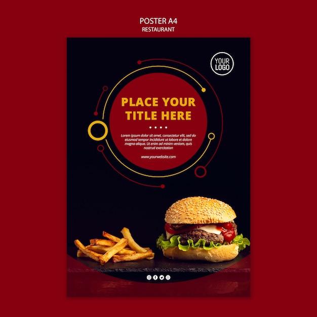 Design del poster con hamburger Psd Gratuite