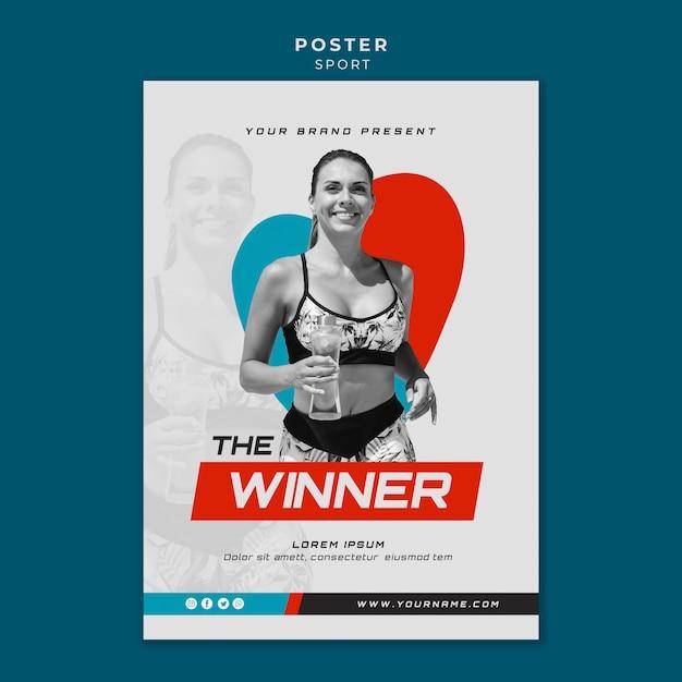 Design del poster concetto di sport Psd Gratuite