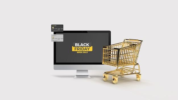 Desktop met plastic kaart met 3d-gerenderde gouden winkelwagen mockup Premium Psd