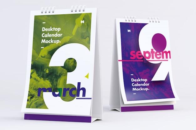 Desktop portretkalenders mockup voor- en achteraanzicht Premium Psd