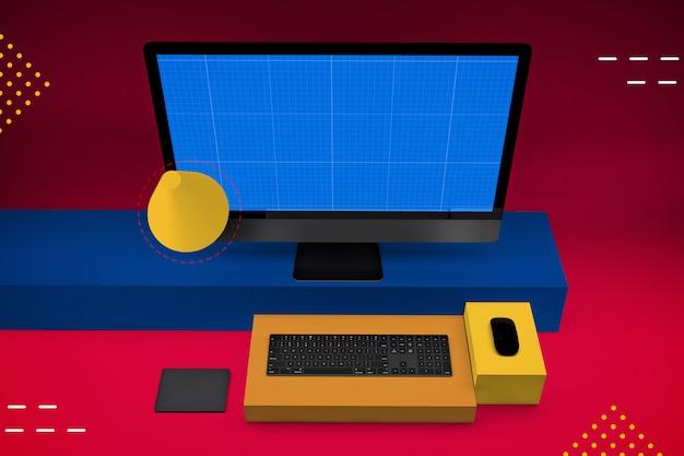 Desktopcomputer met mockup-scherm Premium Psd