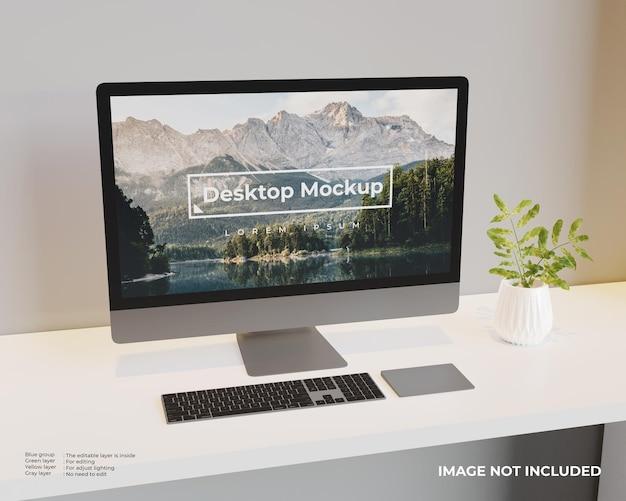 Desktopmodel ziet er links uit Gratis Psd