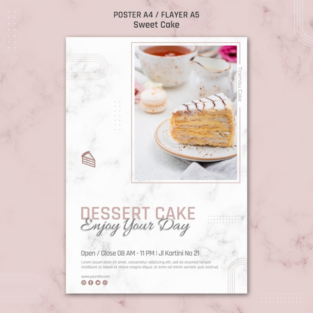 Dessertcake geniet van je dagpostersjabloon Gratis Psd