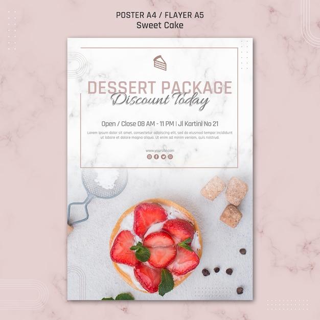 Dessertpakket korting vandaag cake poster sjabloon Gratis Psd