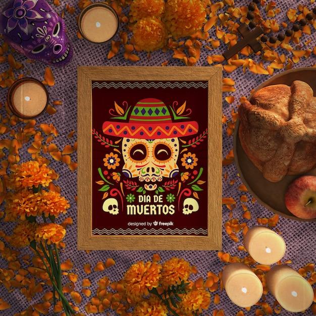 Dia de muertos-schedels met platliggende sombrero Gratis Psd