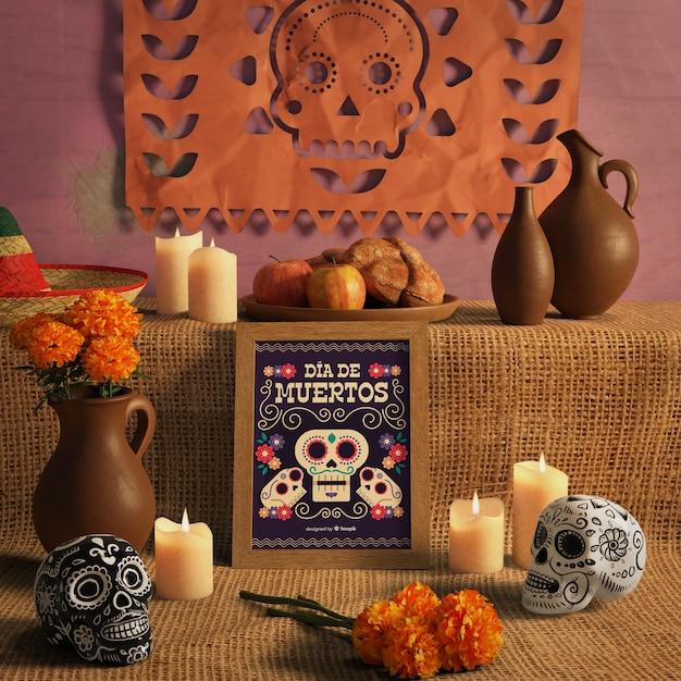 Dia de muertos traditioneel mexicaans bloemenschedels vooraanzicht Gratis Psd