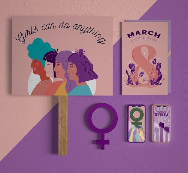 Día internacional de la mujer con maqueta PSD gratuito