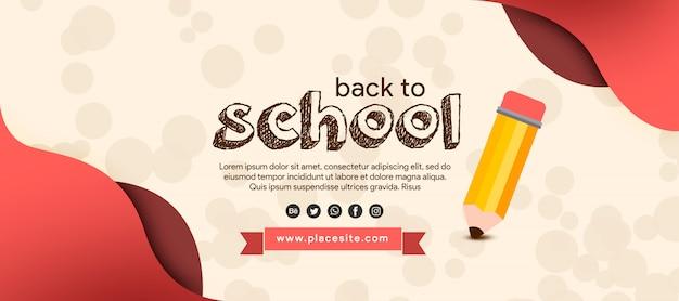 Dibujar banner de regreso a la escuela con lápiz PSD Premium
