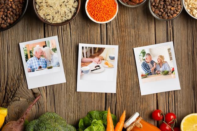 Dieetideeën groenten en kruiden met familiefoto's Gratis Psd
