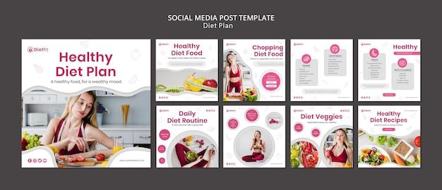 Dieetplan social media postsjabloon Premium Psd