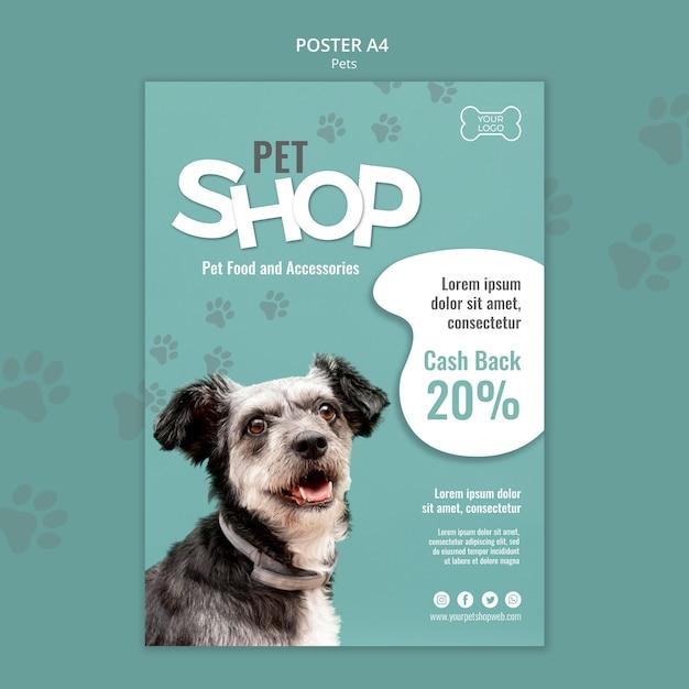 Dierenwinkel poster sjabloon met foto van hond Premium Psd